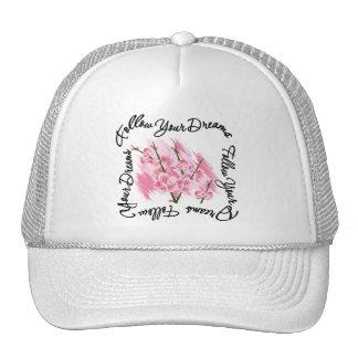 Follow Your Dreams Pink Flowers Trucker Hat