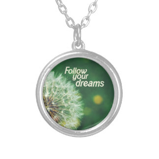 Follow Your Dreams Round Pendant Necklace