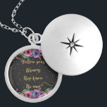 """""""Follow your dreams they know the way"""" quote Locket Necklace<br><div class=""""desc"""">Pretty """"Follow your dreams they know the way"""" quote and watercolor flowers, beautiful sparkling faux gold glitter brush hand written text, typography, wise words, inspirational, motivational, feel great words, whimsical, watercolor floral, hand paint artwork, brush, lines, picture, design, drawn, illustration, unique, dark grey background, trendy, classy, elegant, chic, stylish, simple...</div>"""