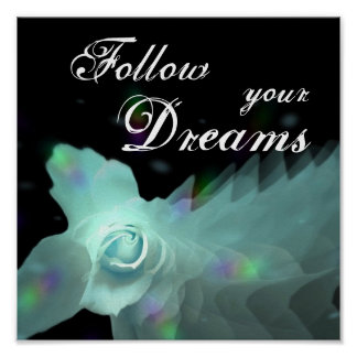 Follow Your Dreams Turquoise Butterfly Rose Poster