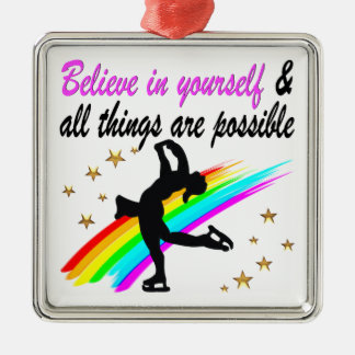 FOLLOW YOUR FIGURE SKATING DREAMS DESIGN METAL ORNAMENT