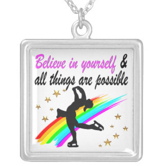 FOLLOW YOUR FIGURE SKATING DREAMS DESIGN SILVER PLATED NECKLACE