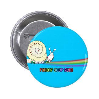 Follow Your Fun Cute Snail Rainbow Button