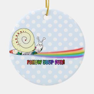 Follow Your Fun Cute Snail Rainbow Ceramic Ornament