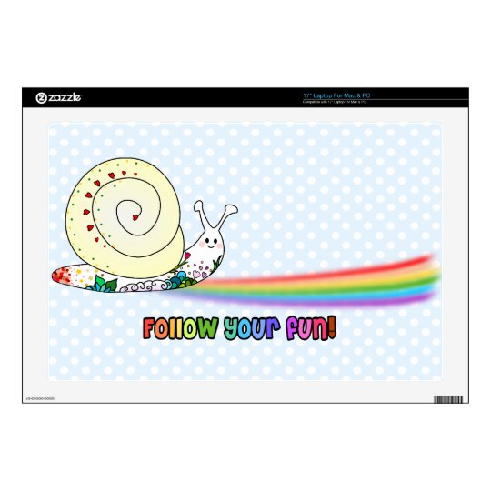"Follow Your Fun Cute Snail Rainbow Decals For 17"" Laptops"
