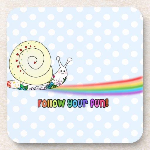 Follow Your Fun Cute Snail Rainbow Drink Coaster