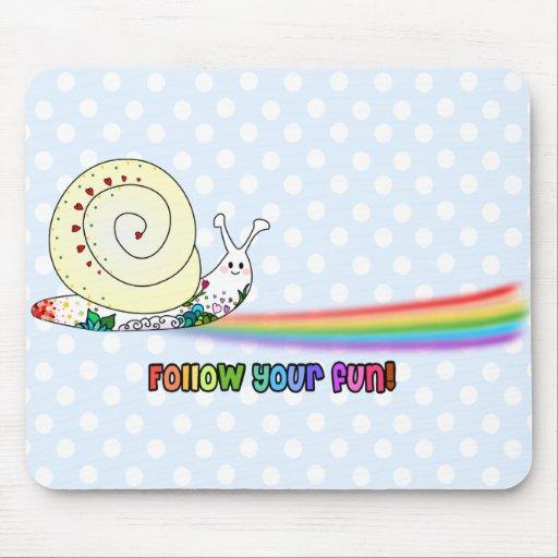 Follow Your Fun Cute Snail Rainbow Mouse Pad