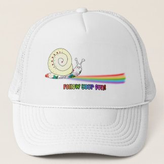 Follow Your Fun Cute Snail Rainbow Trucker Hat