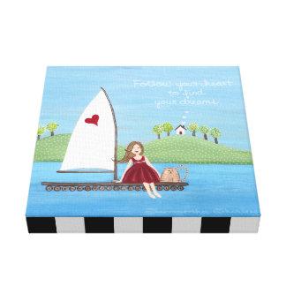 Follow Your Heart - 12x12 Nautical Sailing Art Canvas Print