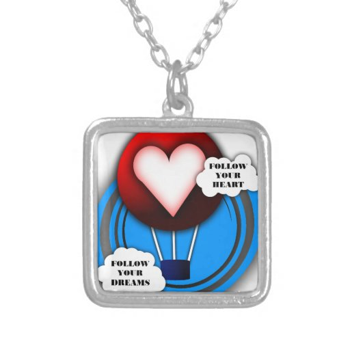 FOLLOW YOUR HEART AND FOLLOW YOUR DREAMS SQUARE PENDANT NECKLACE