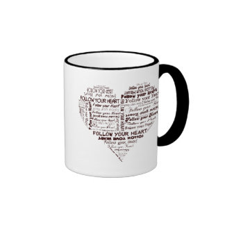Follow Your Heart Black and White Mug