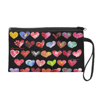 Follow Your Heart Black Custom Bag Purse Wristlet