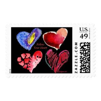 Follow Your Heart Black Custom Postage