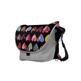 Follow Your Heart Black Silver Messenger Bag