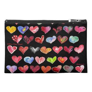 Follow Your Heart Black Travel Custom Zipper Bag Travel Accessory Bag