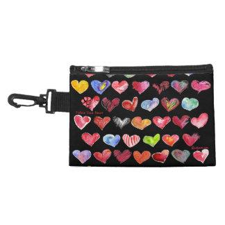 Follow Your Heart Blk Clip-On Custom Zipper Bag Pu Accessories Bag