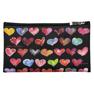 Follow Your Heart Blk Cosmetic Custom Zipper Bag Makeup Bags
