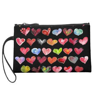 Follow Your Heart Blk Suede Med Custom Zipper Bag Wristlet