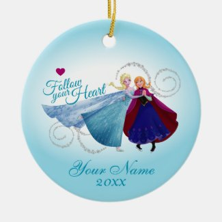 Follow Your Heart Double-Sided Ceramic Round Christmas Ornament