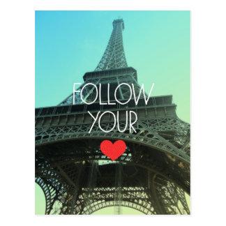 Follow Your Heart Eiffel Tower Postcard
