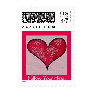 Follow Your Heart - Love postage stamp