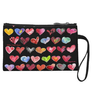 Follow Your Heart Mini Black Custom Zipper Bag Wristlets