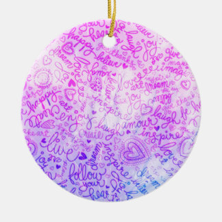 Follow your heart, pink christmas ornament