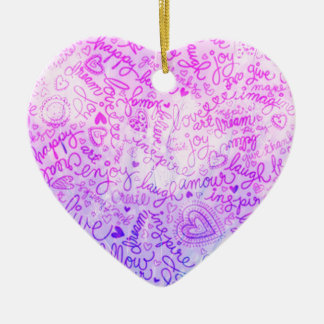Follow your heart, pink christmas tree ornaments