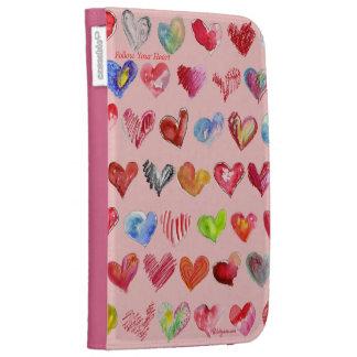 Follow Your Heart Pink Custom Kindle Folio Case