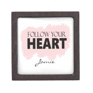Follow Your Heart & Pink Paint Swish Trinket Gift Gift Box