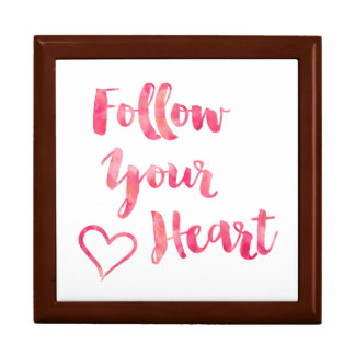 Follow Your Heart Pink Watercolor Quote Template Jewelry Box