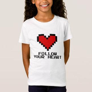 Follow Your Heart pixel art girls babydoll t shirt