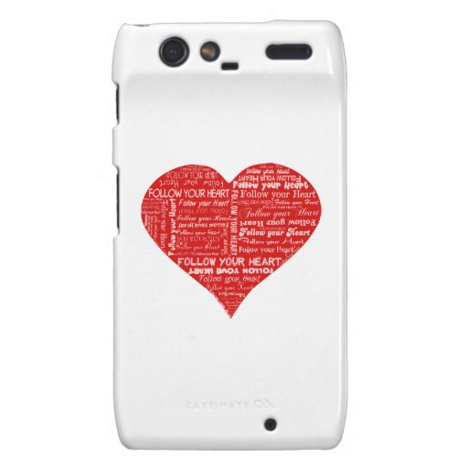 Follow Your Heart - Red and white love heart Motorola Droid RAZR Cases