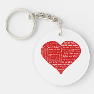 Follow Your Heart - Red and white love heart Keychain