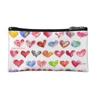 Follow Your Heart Small Cosmetic Custom Zipper Bag Makeup Bag