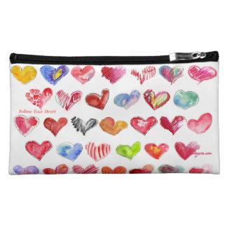 Follow Your Heart Suede Cosmetic Custom Zipper Bag Cosmetic Bag