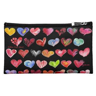 Follow Your Heart Suede Cosmetic Custom Zipper Bag Makeup Bags