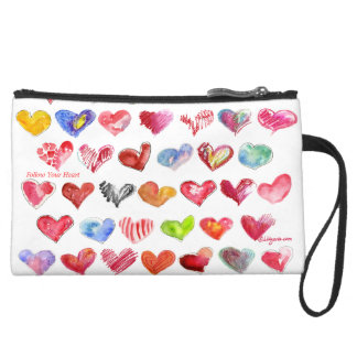 Follow Your Heart Suede Med Clutch Custom Zipper B Wristlet