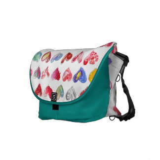 Follow Your Heart White Teal Custom Rickshaw Messe Commuter Bag
