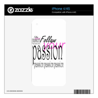 Follow your passion iPhone 4S skins