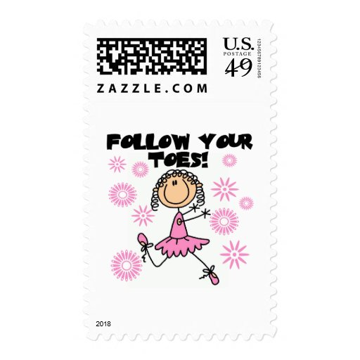 Follow Your Toes Ballerina Tshirts and Gifts Stamp