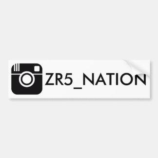 Follow @ZR5_NATION White Bumper Sticker