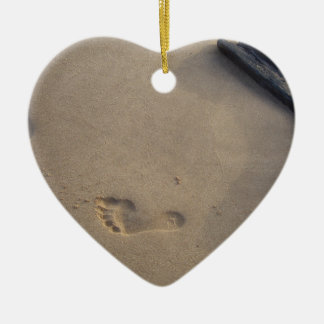 Following a Trail Footsteps in the Sand Christmas Tree Ornaments