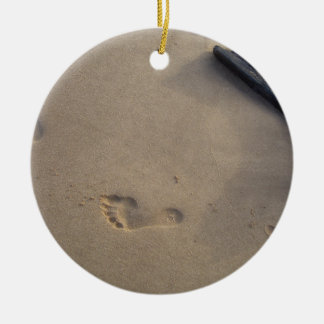 Following a Trail Footsteps in the Sand Christmas Tree Ornament
