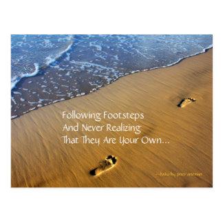 Following Footsteps Modern Haiku Postcard
