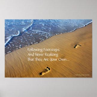 Following Footsteps Modern Haiku Poster