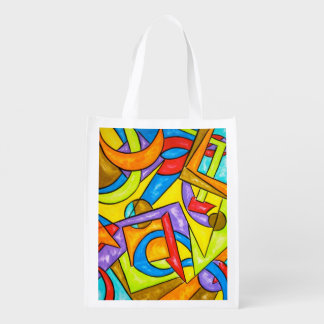 Following The Instructions-Abstract Art Grocery Bags