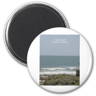 Folly Beach 2 Inch Round Magnet