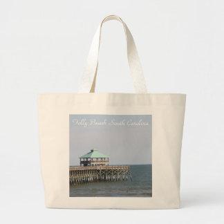 Folly Beach SC, Pier, Charleston, Photography Large Tote Bag
