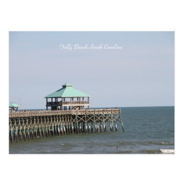Beach Themed Folly Beach SC, Pier, Charleston, Photography Postcard